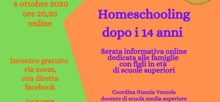 Homeschooling dopo i 14 anni – online 6 ottobre 2020