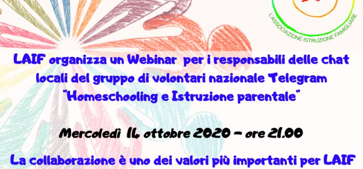Webinar per referenti – online 14 ottobre 2020