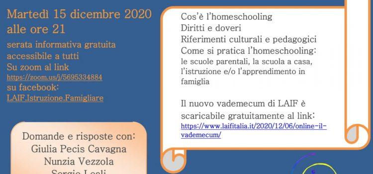 La pratica dell'homeschooling – online 15 dicembre 2020