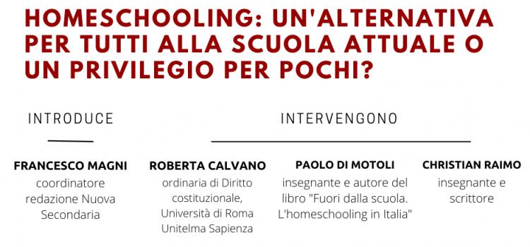 Webinar sull'Homeschooling: 17 marzo 2021