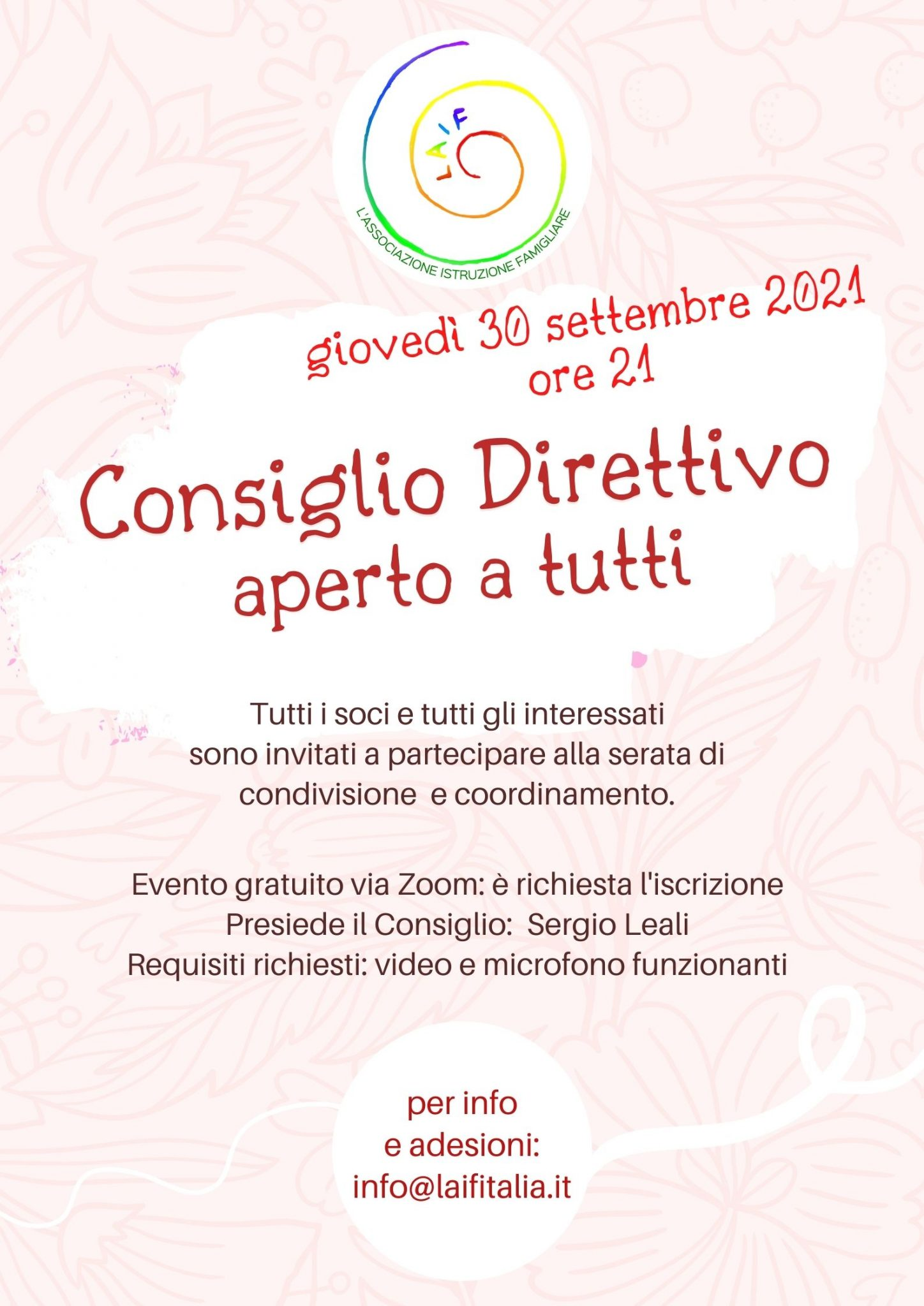 Consiglio Direttivo LAIF – online 30 settembre 2021